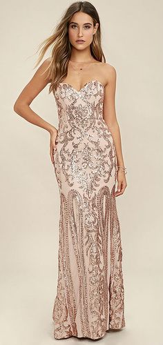 Bariano Rebecca Rose Gold Sequin Strapless Dress