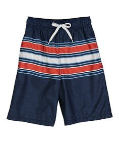 2eb29db101 Kanu Surf Navy & Red Archer Stripe Swim Trunks - Toddler & Boys