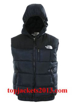 The North Face Outlet Mens Summit Series Hoodie Down Vest Blue Black