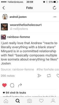 they balance each other well. andrew has too many emotions to express. neil just feels all his emotions so much, he can't help but to express them