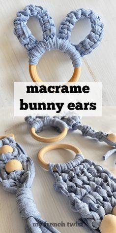 #macramebunnyears Diy Craft Projects, Craft Tutorials, Craft Ideas, Macrame Rings, Cute Crafts, Easy Crafts, T Shirt Yarn, Micro Macrame, Homemade Baby