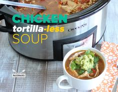 (Saute in broth, and skip the guac) Crockpot Chicken Tortilla-less Soup is perfect for a quick weeknight dinner to come home to after a busy day, or as an easy make-ahead lunch for the week.