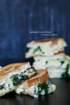 Spinach + Artichoke Grilled Cheese Sandwiches