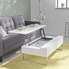 Novy Table basse blanche avec tablette relevable