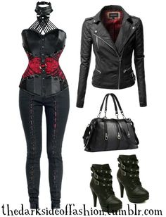 Dark Fashion — I would color you all red. Buy Here >>> Corset Top. Dark Fashion — I would color yo Gothic Outfits, Edgy Outfits, Cute Casual Outfits, Pretty Outfits, Summer Outfits, Fashion Outfits, Womens Fashion, Style Rouge, Mode Rock