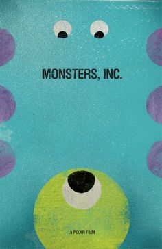 We Scare Because We Care: 20 Monsters Inc. Fan Posters - We Scare Because We Care: 20 Monsters Inc. Fan Posters Day Your least favorite Pixar film: Monster's Inc. This was a tough one because I don't dislike any of their films. Disney Pixar, Disney Fan Art, Disney Love, Disney Magic, Walt Disney, Monsters Inc, Alternative Disney, Alternative Movie Posters, Sullivan Y Boo