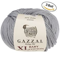 3 Pack Ball Gazzal Baby Cotton XL Total 528 Oz  344 Yrds Each Ball 176 Oz 50g  246 Yrds 225m Super Soft DK Worsted Baby Yarn 50 Turkish Cotton Grey  3430 ** Check this awesome product by going to the link at the image.Note:It is affiliate link to Amazon.