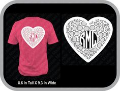 Golf heart monogram custom shirt, shown with round monogram on back of shirt - pinned by pin4etsy.com