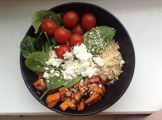 Buddah bowl - roasted sweet potatoes - couscous - spinach - avocado - tomatoes - feta