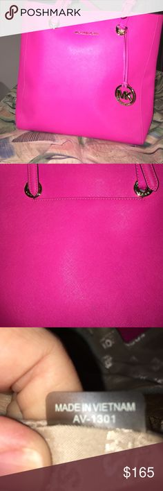 Michael Kors Tote Michael Kors Bright Pink Tote. Made of saffiano leather. NWOT.  14l x 14h. Inside has large zipper pocket on one side with cell phone and additional pocket. The other side has 2 small pockets. KORS Michael Kors Bags Totes