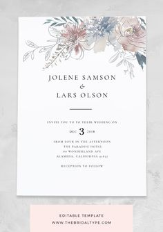 Floral wedding invitation template watercolor invitations wedding rustic invitation boho wedding templett wedding diy wedding invites diy wedding invitations tips for making them perfect Watercolor Wedding Invitations, Rustic Invitations, Floral Invitation, Wedding Invitation Templates, Wedding Stationery, Invitation Suite, Invites Wedding, Engagement Invitations, Invitation Envelopes