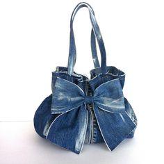 jean purse recycled denim bow bag blue handbag от Sisoibags