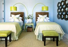 twin beds and twin lighting  Minny Stanton  Atlanta Decorators Show House