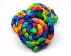 BFL Wool/ Silk Roving  Hand Dyed Roving for by woolgatherings