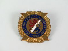 Bowling Club Badge - Scottish Bowling Association 1892 Vintage Enamel Badge (111005-198-5 / 11-11232)