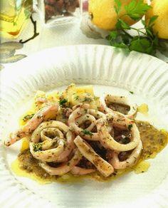 Calamares al vapor con salsa de vino blanco y limon