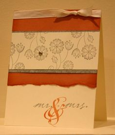 Wedding Card SU | I like the effect of the torn paper below. Nice touch.