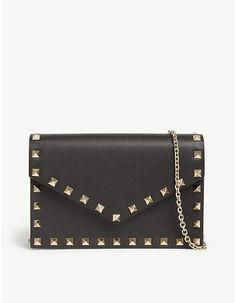Valentino Rockstud wallet-on-chain Valentino Rockstud, Valentino Shoes, Valentino Handbags, Valentino Clothing, Selfridges & Co, Classic Handbags, Designer Handbags, Designer Bags, Leather