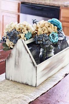 17 Pretty Mason Jar Flower Arrangements - Best Floral Centerpieces in Mason Jars Old Tool Boxes, Wood Tool Box, Wooden Tool Boxes, Mason Jar Flower Arrangements, Mason Jar Flowers, Diy Flowers, Floral Centerpieces, Floral Arrangements, Tropical Flowers