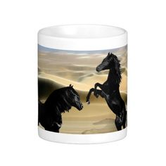 Wild black beauty horses coffee mug