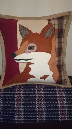 Stunning Handmade Fox Applique Cushion, Feather insert