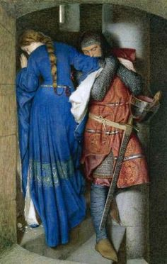 'Hellelil and Hildebrand, the Meeting on the Turret Stairs' (1864) by Frederic William Burton. Watercolor and gouache on paper. 95.5 x 60.8 centimeters (37.59 x 23.93 inches). Signed, lower left: FWB 1864. // Click on image for more details on the ballad of Hellelil and Hildebrand. // Found by @RandomMagicTour - Sasha Soren