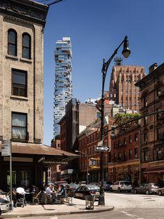 56 Leonard 'Jenga Tower' in New York by Herzog & de Meuron - bynnz 11 Howard Hotel, Jenga Tower, Leonard Street, Essex Street, Waverly Place, Madison Avenue, Facade, New York City, Architecture Design