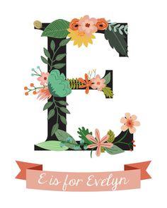 Evelyn Monogram Instant Download Girls' by GoodandHappyDesign