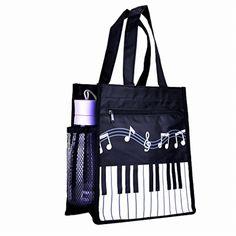 Piano Keys Music Oxford Handbag Shoulder Tote Shop Bag Black Large Waterproof #Rinastore #ShoppingBag