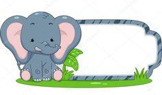 Ilustración de un Listo para Imprimir etiqueta que ofrecían un lindo elefante sentado junto a un trozo de hierba Foto de archivo - 28157448