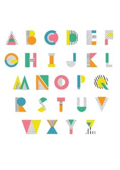 Alphabet by Charlotte Perry Typography Alphabet, Typography Logo, Graphic Design Typography, Lettering Design, Logos, Alphabet In Different Fonts, Geometric Font, Types Of Lettering, Kids Poster