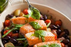 Simple gluten-free one pot meal - roasted salmon nicoise