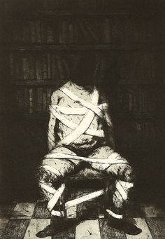 Knowledge is Power by Ken Currie ----- I find this artwork appealing to me because it provoked me to think about the subject matter being conveyed here in regards to the title of the artwork.  I also personally like the monochromatic scheme used here along with the figure's accuracy and overall grim and dark appearance.