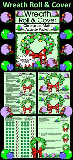 Wreath Roll & Cover Christmas Math Activity Packet: Give your students a fun and festive way to practice addition in series in a hands-on way using 3 six-sided dice and seeds, beads, or other small items as counters.  Wreath Roll & Cover Christmas Math Contents Include: * Student Work Mat * Instruction Set * Student Record Sheet * Student Observation Sheet  #Christmas #Wreath #Math #Activities #Dice #Teacherspayteachers