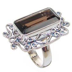 Smoky Quartz Sterling Silver Ring size L 1/2