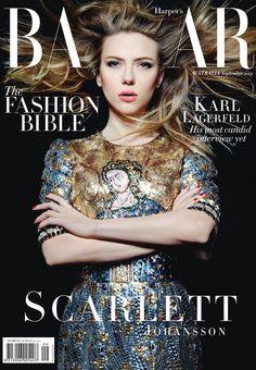 Karl Lagerfeld shoots Scarlett Johansson for Harper's Bazaar Australia, September 2013. Dress: Dolce and Gabbana, Fall 2013.