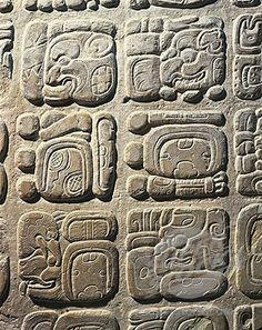 Maya simbolos era escrito en el pared.