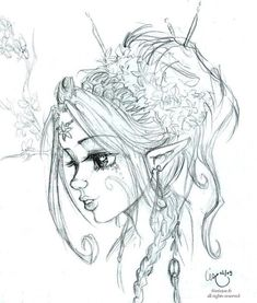 The Elf Magnolia - Art Corner Fairy Drawings, Fantasy Drawings, Fantasy Art, Elfen Tattoo, Fairy Sketch, Elves And Fairies, Fairy Art, Fantasy Creatures, Drawing Sketches