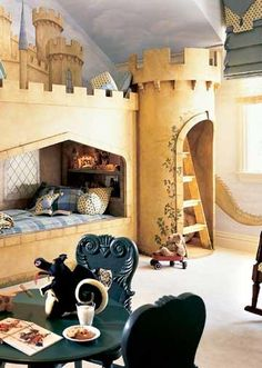 Castle Beds and Murals combination includes bunk beds, secret hiding places, and a book nook in the ladder-accessed turret. Fashioned from stone-look laminate, the castle has no back walls, so mattresses can be moved in and out easily.