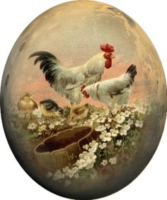 Easter Art, Easter Crafts, Old Cards, Chickens And Roosters, China Painting, Baby Deer, Vintage Roses, Vintage Cards, Painted Rocks