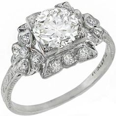 Antique 1.43ct Old European Cut Diamond Platinum Engagement Ring - See more at: http://www.newyorkestatejewelry.com/engagement-rings/art-deco-1.43ct-diamond-engagement-ring/25179/3/item#sthash.RcSN03hv.dpuf