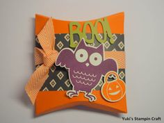 Halloween Treat Box using Thinlits Square Pillow Box and Howl-O-Ween Treat stamp…