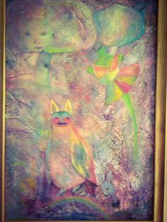 Acrylic painting by Pino. I regnbågskattensland. In the land of the Rainbow Cat.