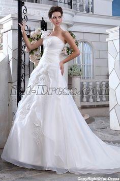 Wonderful A-line One Shoulder Princess Wedding Dresses with Corset $198.00