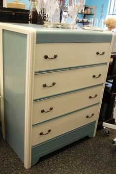 Beautiful Blue and Cream Waterfall Dresser from Marinus Home $215