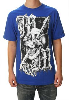 Metal Mulisha Men's Run Through Tee Short Sleeve Graphic T-Shirt Blue