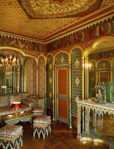 """""""Boudoir in Ottoman style, decorated after the return of Emperor Napoleon I from Egypt. Hotel de Beauharnais, Residence of Eugene Beauharnais, Josephine's son adopted by Napoleon. Architects: Bataille and Calvenet. Furniture by the brothers Jacob."""""""