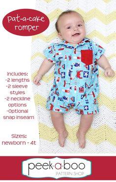 fairytale frocks and lollipops :: peek-a-boo pattern shop, peekaboo pattern shop, amy hindman, pat-a-cake romper, patacake, girl, boy, baby, infant, newborn, children's sewing pattern, baby, unisex, gender neutral, pocket, puff, short, sleeve, sewing, gift, instant, digital, download, pdf, spring, summer, fall, winter, e-pattern, e-book, epattern, ebook, tutorial, digipattern