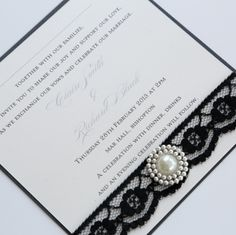 Black, White, and pearl invitation| Chanel themed wedding ideas