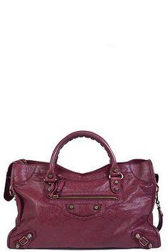 Balenciaga-Wine-City-Handbag-w-rose-Gold-Hardware